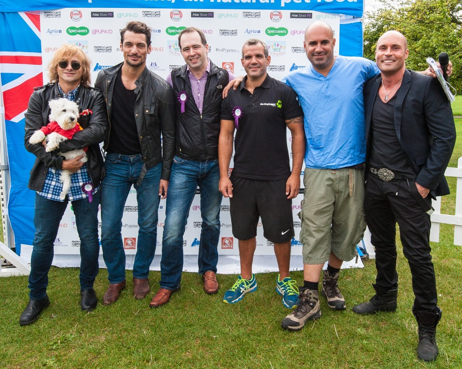 Tim Howar (from Mike and the Mechanics) with Rocky, David Gandy, Xavier Santiago, Barney the Dog jogger, Marc the Vet [Marc Abraham] and The Dreamboys' David Richards. photo © Julia Claxton