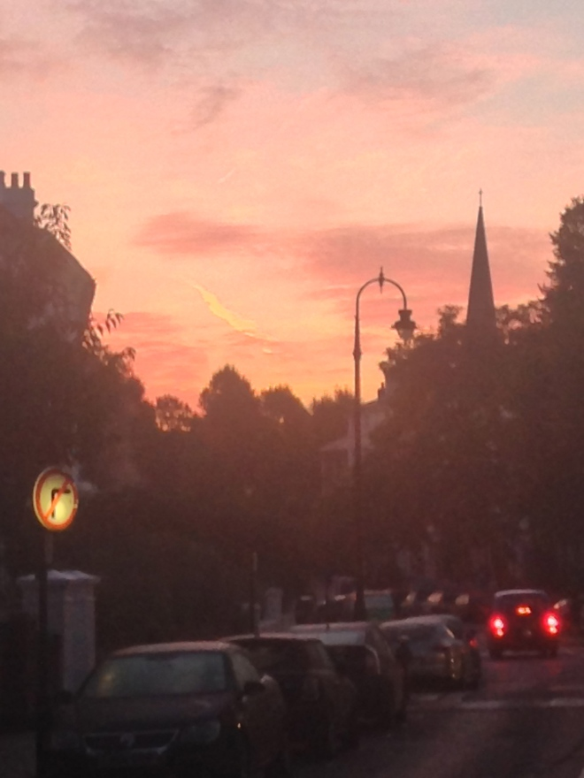 AUTUMN SUNRISE WITH ST MARK'S CHURCH AND TAXI