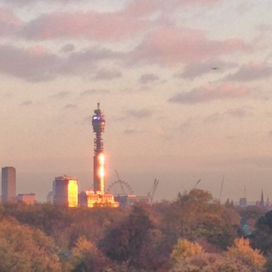 THE SUN CATCHES ON THE BT TOWER.   © iLovePrimroseHill.com, all rights reserved.