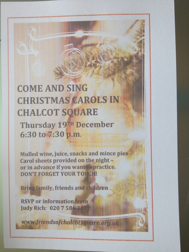 Carols in Chalcot Square, 19 December 6.30-7.30pm.   © 2013 iLovePrimroseHill.com, all rights reserved.