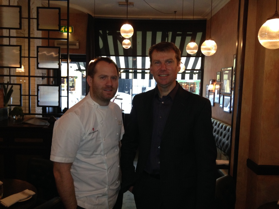 BRYN WITH RESTAURANT MANAGER DAVID ALLAN.