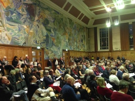 The packed hall at Cecil Sharp House.