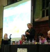 Natalie Bennett in front of the silver screen.
