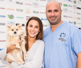MARC THE VET WITH MADE IN CHELSEA'S LUCY WATSON AND HER DOG DIGBY photo Julia Claxton.