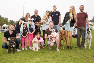 LONDON'S FITTEST DOG, JUDGED BY (L-R) BARRY KARACOSTAS OF www.thedogjogger.co.uk, LUCY WATSON AND DIGBY FROM MADE IN CHELSEA AND TOM SENIOR OF www.citypups.co.uk photo Julia Claxton