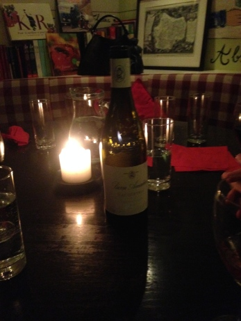 Candles and wine, lovely L'Absinthe.