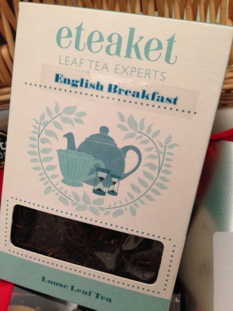 TEAKET TEA, FRESH AND STRONG, WITH PRECISE INSTRUCTIONS ON HOW LONG TO LET IT BREW. I'LL BE HAVING A CUP FOR CHRISTMAS MORNING BREAKFAST.