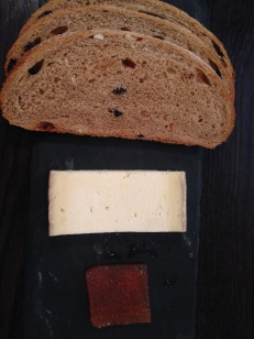 OH MY. THIS WAS AMAZING. THE BARA BRITH IS A WELSH CLASSIC, SWEETER AND SPICIER THAN EXPECTED. THE CHEESE WAS TANGY AND THE QUINCE WAS THE PERFECT FOIL.