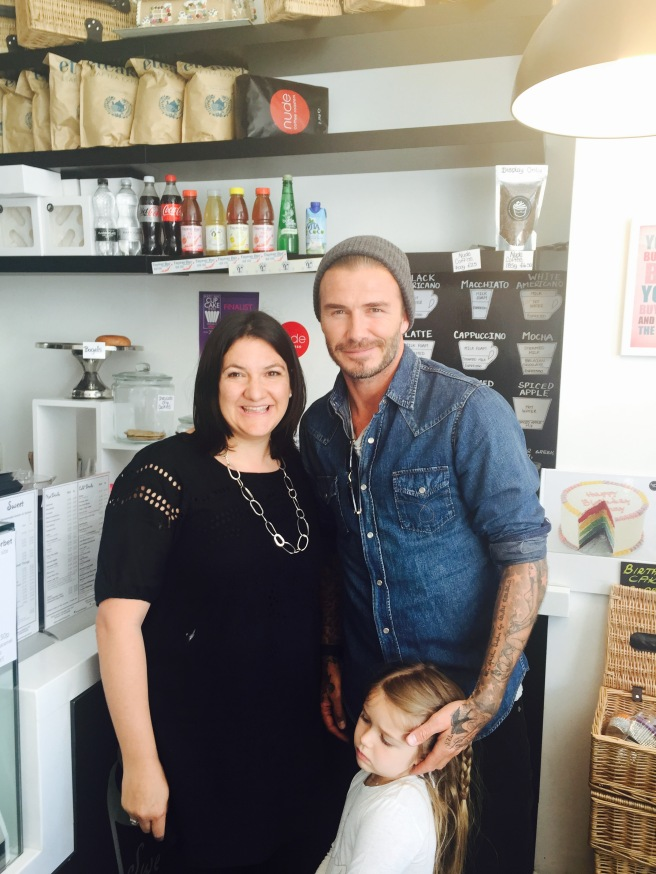 DAVID AND HARPER BECKHAM VISITING SWEET THINGS CAKERY IN PRIMROSE HILL