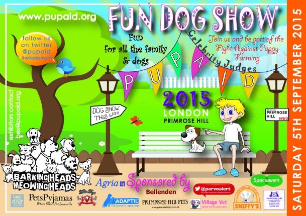 PUPAID FUN DOG SHOW, SATURDAY 5 SEPTEMBER, 11-5PM. CELEBRITY JUDGES!