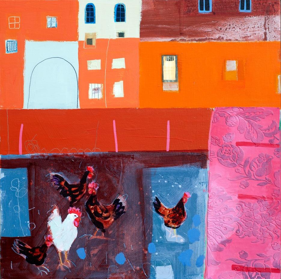 Rosy Curtains and Chickens, acrylic on board, 61 x 61cm, Emma Dunbar, £1600