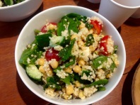 cracked wheat salad with peas and baked halloumi.