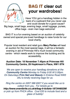 BAG IT! PRIMROSE HILL COMMUNITY ASSOCIATION, 18 NOVEMBER, 7.45PM