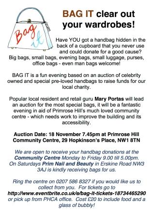 BAG IT! PRIMROSE HILL COMMUNITY ASSOCIATION, 18 NOVEMBER, 7.45PM