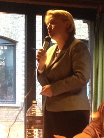 GREEN PARTY LEADER NATALIE BENNETT AT THE GE2015 HUSTINGS. SHE WAS BEATEN INTO THIRD PLACE BY KIER STARMER (LAB, WINNER) AND WILL BLAIR (CONS)