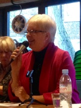 LIB DEM CANDIDATE JILL FRASER AT THE LOCAL GE2015 HUSTINGS. SHE CAME FOURTH.