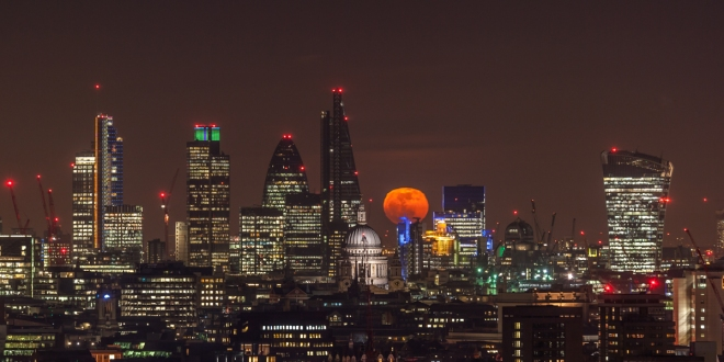 RED MOON RISING OVER ST PAULS BY JAMES BURNS