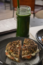 MY KALE KICKER AND MULTI-SEEDED SMOKED SALMON AND CREAM CHEESE BAGEL.