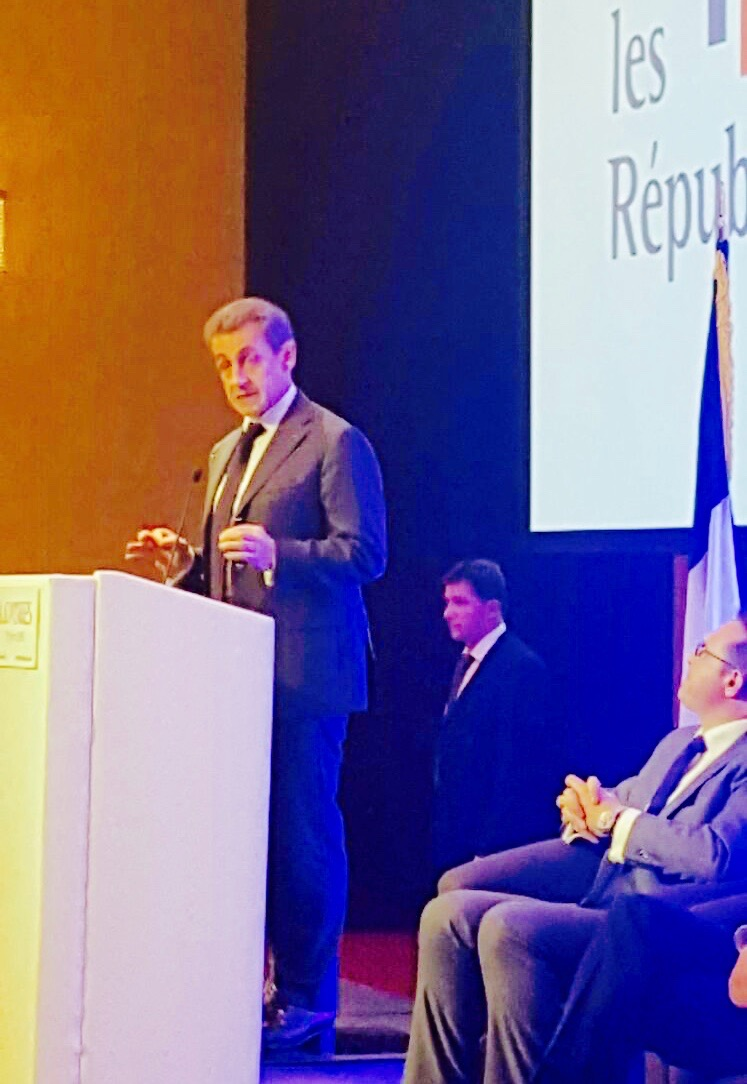 NICOLAS SARKOZY ADDRESSING HIS COUNTRYMEN IN LONDON IN THE WAKE OF THE BREXIT RESULT thanks to Frederic Jourdren