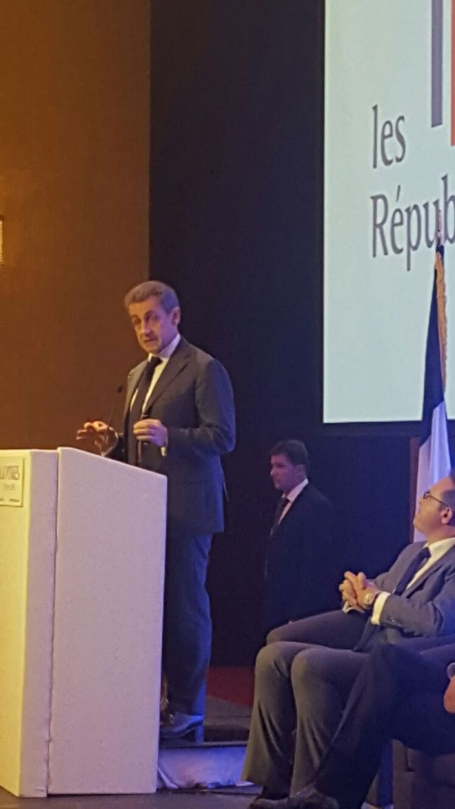 NICOLAS SARKOZY ADDRESSING HIS COUNTRYMEN IN LONDON IN THE WAKE OF THE BREXIT RESULT