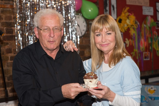 SIAN LLOYD PRESENTING THE COMEDY CUPCAKE TO MARTIN SHEPPARD