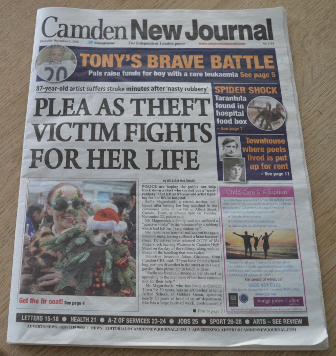 DELIGHTED TO SHARE iLPH PHOTOS WITH OUR EXCELLENT LOCAL PAPER, CAMDEN NEW JOURNAL - HOLD THE FRONT PAGE!