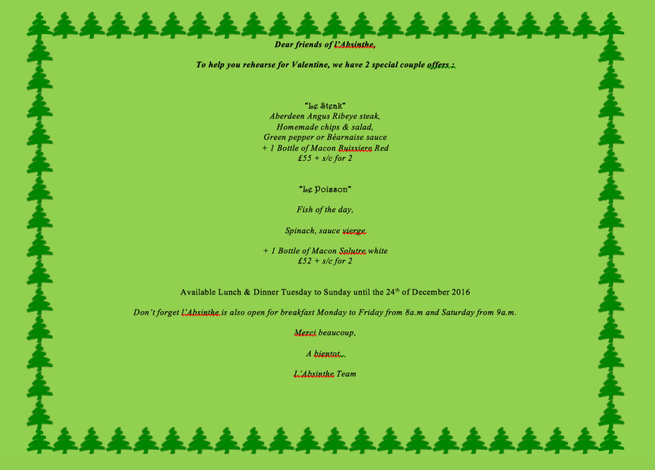 SPECIAL CHRISTMAS OFFERS AT L'ABSINTHE FOR iLPH READERS