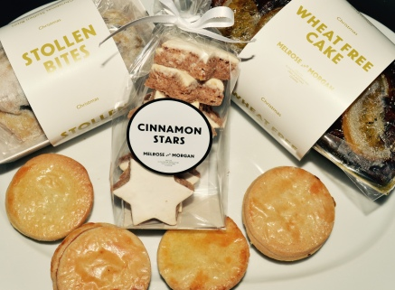 THE MELROSE AND MORGAN MINCE PIE, SHOWN WITH THEIR CINNAMON STARS, WHEAT-FREE CAKE AND STOLLEN BITES