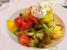 HERITAGE TOMATO AND GOATS CURD SALAD, SPRING ONION, RAPESEED OIL