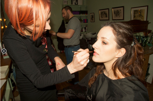 LISA HAUCK APPLYING EURYDICE'S BRIDAL MAKE-UP