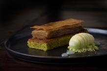 Pistachio cake, apple terrine, green apple sorbet £8 (2014-2015)