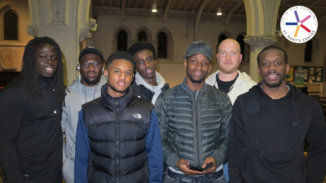 JASON ALLEN (SECOND FROM RIGHT) AT THE ST MARY'S CENTRE